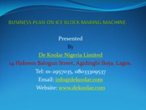 Ice Block Making Business in Nigeria - Business Plan